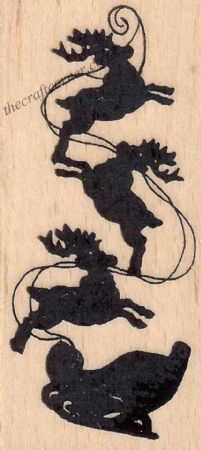 Christmas Sleigh Silhouette Wood Mounted Rubber Stamp